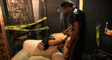 Chase Coxxx keeps his bottom bitch Adam Russo locked in his underground dungeon for his own sexual pleasure. Tonight he wants to feed Adam his huge black cock before stuffing his asshole with his meat and plowing the cum into him.