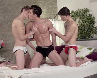 The boys are all in action from the beginning, playing with eachother and soon Jake Williams is laying back and enjoying the pleasure the other boys are givivng him, but that will not last long...