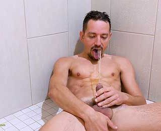 Boris decided to try drinking piss for the first time. This an excellent shower video, and it is hot watching him piss and swallow a few gulps. He then jerks his cock busting a load for us!