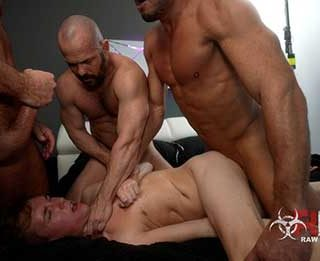 Sexy college boi Jack Bailey gets the muscle daddy gang bang of his dreams as he submits to 4 legendary studs. Sean Duran, Michael Roman, Owen Hawk, and Tyler Roberts...