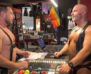 Muscle hunks Hans Berlin and Ralph meet at the bdsm store where they take advantage of the fact that they are surrounded by kinky tools of pleasure. Hans and Ralph with have a hardcore session which they'll never be able to forget.
