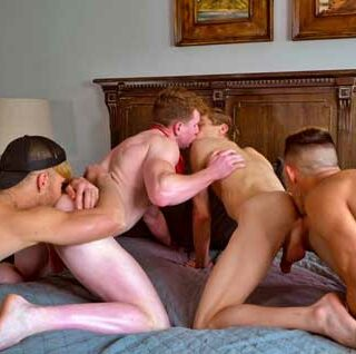 What's better than a freaky foursome? A freaky foursome with hotties Devyn Pauly, Jax Thirio, Jesse Bolton, and Max Lorde. The guys enjoy rubbing, sucking, and fucking each other in this steamy homemade banger.